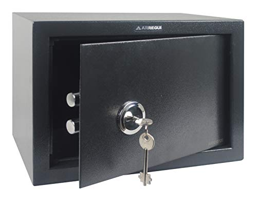 Arregui T25K Caja fuerte de sobreponer sólo llave.350x250x250 mm, Gris oscuro, 350...