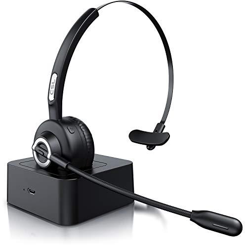 CSL - kabelloses Headset mit Ladestation - Mono Bluetooth Headset mit Mikrofon - USB Ladeport - Multipoint - Rauschunterdrückung - leicht - freisprechen - PC Tablet Smartphone