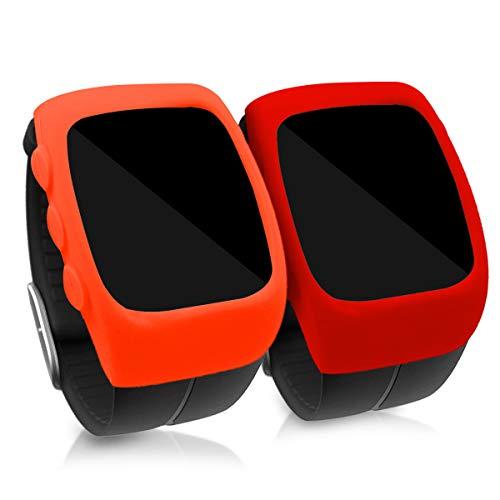 kwmobile 2 Fundas para Polar M400 - Cubierta para Monitor de Actividad de [Silicona] - Case [Rojo/Naranja]