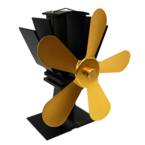 vimbhzlvigour Kaminofenventilator, großer Luftstrom, 5 Klingen, hitzebetrieben, Gas-Holzbrenner, Heimgeräte gold