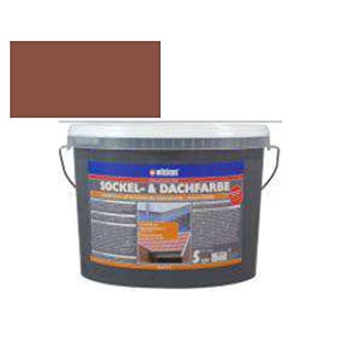 Sockel- & Dachfarbe inkl. 4 x 5m Abdeckfolie von E-Com24 (Sockelfarbe Ziegelrot 5 Liter)
