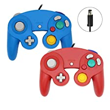 Sp full 2 Packs Classic Wired Gamepad Controllers Compatible with Wii Gamecube Console (Blue+Red)