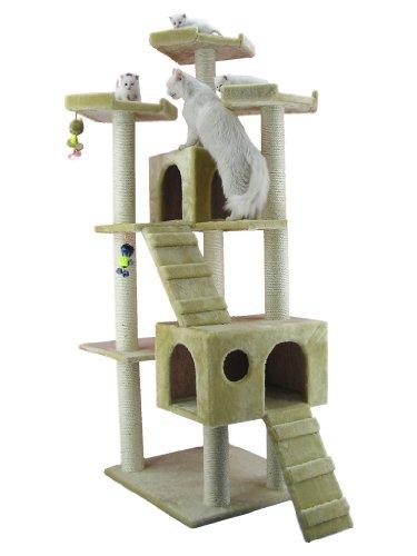 Großer Kratzbaum AC7401 von ARMARKAT mit riesigem Katzenhaus und Treppe (Beige)