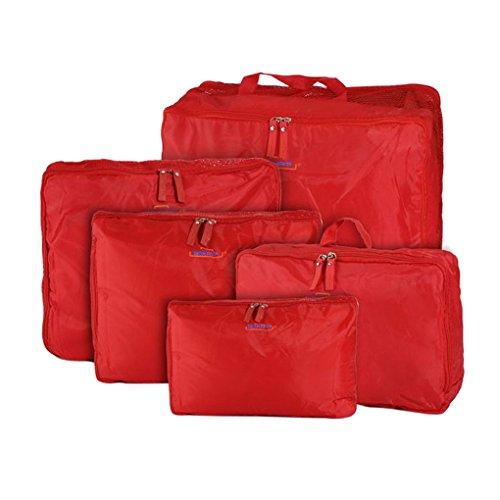 FakeFace 5er-Set Nylon Reisegepäck Robuste Aufbewahrungstasche Gepäcktaschen Set Wäsche Organizer Tasche für Koffer Kleidertasche Schminktasche Packing Cubes Beautycase Koffertaschen für Angenehme Reise (Rot) (Kleid Aufbewahrungstasche)