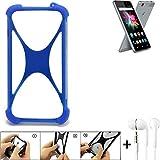 K-S-Trade Bumper Allview X3 Soul Mini Schutzhülle Handyhülle Silikon Schutz Hülle Cover Case Silikoncase Silikonbumper TPU Softcase Smartphone, Blau (1x), Headphones