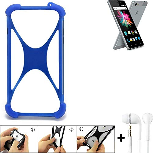 K-S-Trade Bumper für Allview X3 Soul Mini Schutzhülle Handyhülle Silikon Schutz Hülle Cover Case Silikoncase Silikonbumper TPU Softcase Smartphone, Blau (1x), Headphones