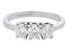 Idea Regalo - Anello Trilogy in Oro bianco 18 K e Diamanti 0,09 ct