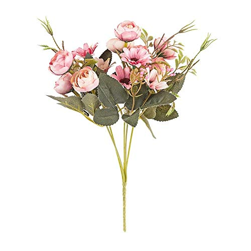 Ideen mit Herz Künstliches Blumenarrangement | Blumenstrauß | Blütenbusch | verschiede Blumen und Farben, 28 cm hoch, Blüten Ø ca. 3-4 cm (Rosa, Rosen & Margeriten)