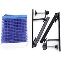 Alomejor Table Tennis Net Portable Nylon Ping Pong Net with Metal Clamp Posts for School Home Sports Club