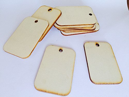 Welim Wooden Tags Gift Tags Rectangle Tags Wooden Card Label Decoration for card making and other craft projects without rope 100pcs