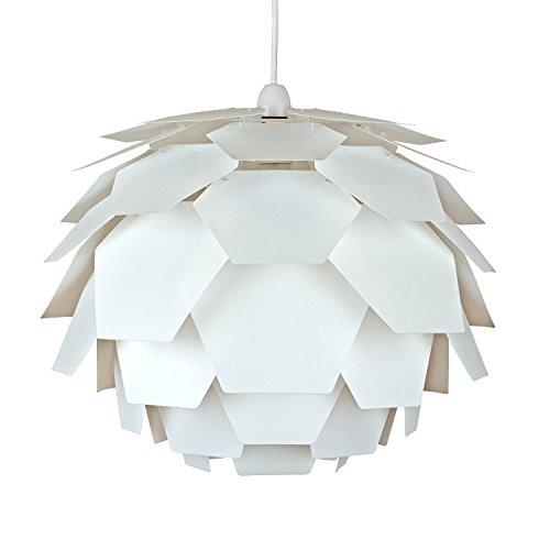 MiniSun – Moderner und weißer Lampenschirm in Form der Artischocke und im Designerstil – für Hänge- und Pendelleuchte