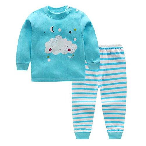 Meedot set di pigiami per bambino, 2 pezzi cotone manica lunga in inverno caldo indumenti da notte per bambini 0-5 anni