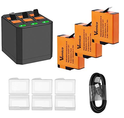 Vemico Gopro Akku Ladegerät 3 * 1500 mAh Batterie Set für Hero 7 Black/Hero 6 Black/Hero 5 Black Wiederaufladbare Batterien und 3 Kanal Ladebox Typ-C USB Batteriepack mit GoPro Action Cam