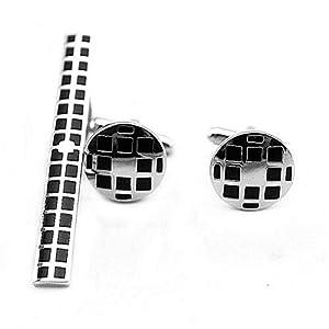 HONG-Accessories Runder Manschettenknopf-Krawattensatz