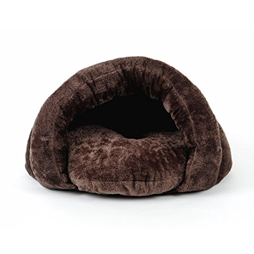 PETCUTE Soft Warm Dog house Pet Bed Sleeping Bag Cat Nest Mat Pad Cushion Pets Cave Kennel Chistmas Gift Brown