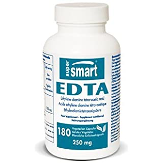 SUPERSMART - EDTA 250mg - 180 Vegetarian Capsules - Cardio-vascular Detoxification - Antioxydant - Helps with Arteries, Organs and Heart Purifier