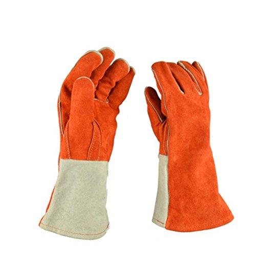 CN Schweißer Handschuhe Kuhfell Schweißer Handschuhe Verdickt Lange Abriebfest Hochtemperatur-Handschuhe (Xl-antistatik-handschuhe)