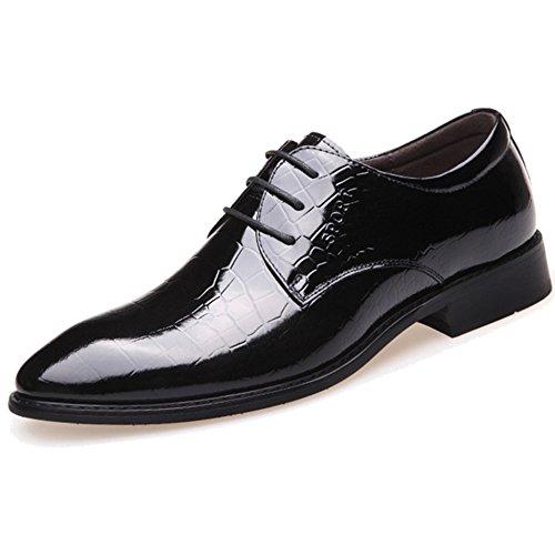 MERRYHE Derby à Lacets Lumineux pour Hommes en Cuir Véritable Bout Pointu Chaussure D'affaires Formel De Mariage Robe Chaussures pour Le Travail De Partie