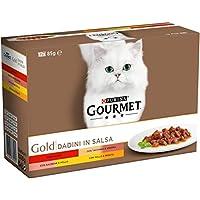 PURINA GOURMET GOLD Umido Gatto Dadini in Salsa con Manzo, Salmone e Pollo, Tacchino e Anatra, Pollo e Fegato - 12 lattine da 85g ciascuna (confezione da 12x85g)