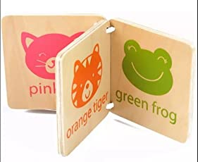 Baby Shelf - Wooden Book Flash Card for Color & Image Learning for Kids 6 Months and Above