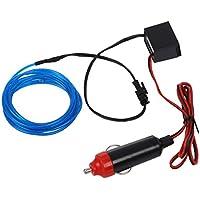 TOOGOO(R) 2M Flexible EL cable Partido de neon del coche del LED luz del tubo de la cuerda + 12V Inversor - Azul