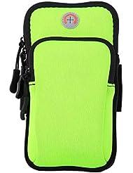 XYQY 5 Pulgadas Bolsa Impermeable para Correr Deportes Soporte para Teléfono Celular Brazo Band Band para En ManoVerde