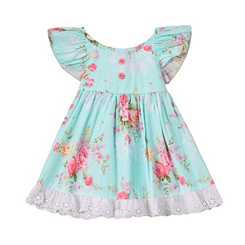 Über Lieder Kostüm - INLLADDY Kleidung Baby Mädchen Ärmellos Bedruckte Spitzenborte Kleider Baumwolle Prinzessin Kostüm Neugeborene Rock Tutu Kleid Himmelblau Höhe: 90cm