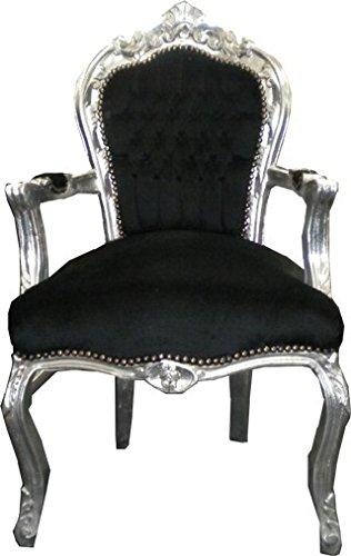 Casa-Padrino Barroco Cena Presidente Negro/Plata con apoyabrazos - Muebles de Estilo Antiguo