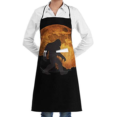 Uosliks Full Moon Bigfoot Professional Chef Apron Multifunctional BBQ and Tool Pockets Garden Apron for Men and Women (Bigfoot-tools)