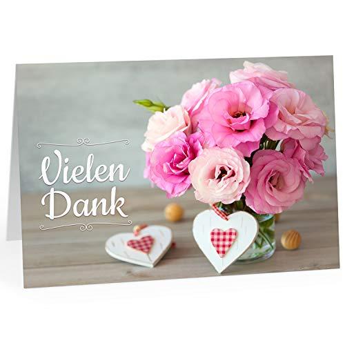 Große Dankeskarte XXL (A4) als Dankeschön/Vielen Dank, Blumenstrauß rosa/mit Umschlag/Edle Design Klappkarte/Danke sagen/Danksagung/Danke sehr/Extra Groß/Edle Maxi Gruß-Karte (Große Danke-karte)
