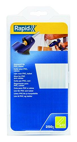 Rapid, 40107363, Bâtons de colle thermofusible, Pour PVC et câbles, Transparent, ø12mm, Longueur 190mm, 250g