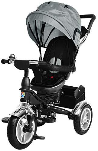 Miweba Kinderdreirad Schieber 7 in 1 Kinderwagen - 360° Drehbar - Faltbar - Luftreifen - Heckfederung - Laufrad - Dreirad - Schubstange - Ab 1 Jahr (KSF10 Faltbar Grau)