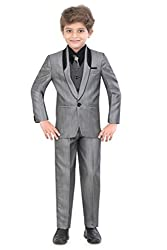 Jeet Boys Grey Silk Coat Suit