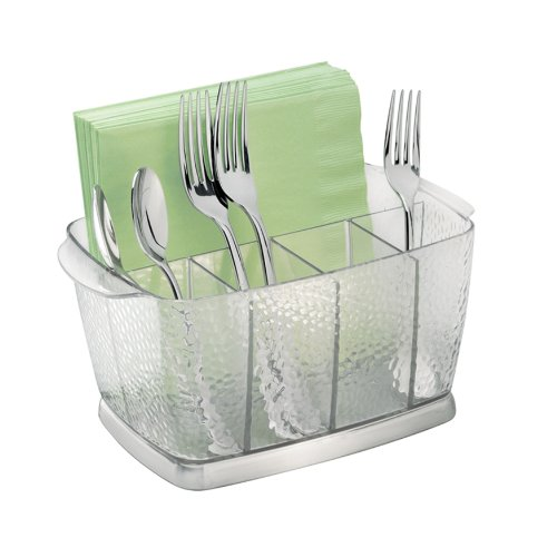 InterDesign Rain Cutlery Tray, Compact Utensil Holder Ideal for Forks, Knives and Spoons, Plastic and Stainless Steel, Clear