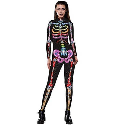 Lomelomme Halloween Damen Jumpsuit Lang Slim Fit Frauen Sexy Bone Print Halloween Kostüm Overall...