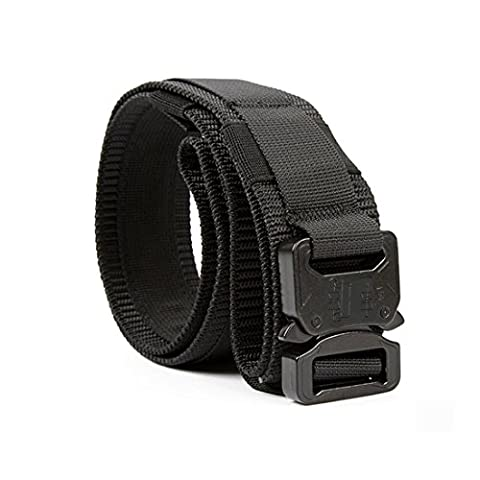 Yisibo Tactical Belt Nylon Outdoor Security Duty Utility Waist Belt with Molle System Military Style Metal Buckle 1.5'' Belts (Black, M)