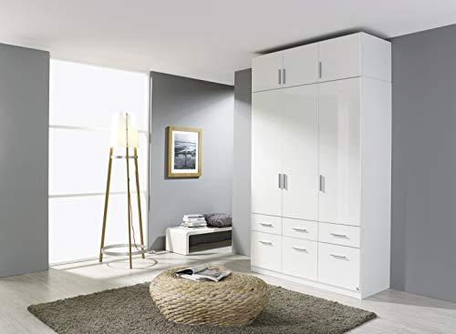 moebel-dich-auf.de Kleiderschrank Drehtürenschrank 3-türig Hochglanz weiß mit Aufsatz 135 x 235 x 57 cm