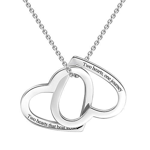 Soufeel Personalisierte Damen Kette mit Gravur 2 in 1 Offen Herz Gravierte Anhänger Halskette mit Wunschname 925 Sterling Silber Geschenk für Mutter, Freundin