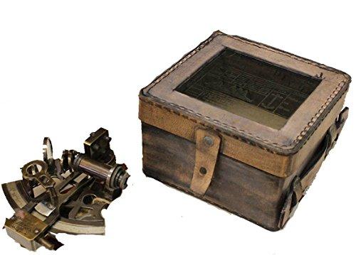 antik Reproduktion Kelvin & Hughes London Marine Arts Sextant in Lederbox