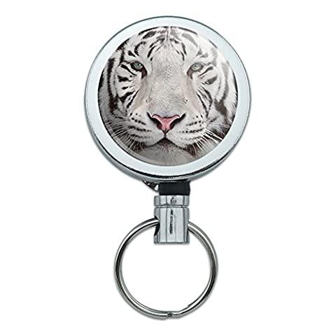 All Metal Retractable Reel ID Badge Key Card Holder with Belt Clip Animals - Tiger White Bengal with Blue