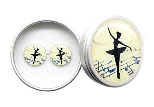 Handgemachte Ballett Mädchen Vintage Ohrringe 925 Sterling Silber mit Schmuckkästchen