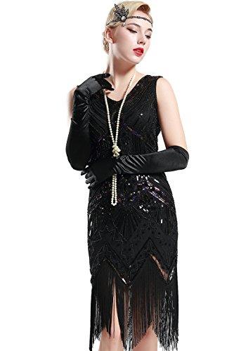 Babeyond Damen Flapper Kleider voller Pailletten Retro 1920er Jahre Stil V-Ausschnitt Great Gatsby Motto Party Damen Kostüm Kleid (Größe S / UK8-10 / EU36-38, glamourös (Glamourös Kostüm)