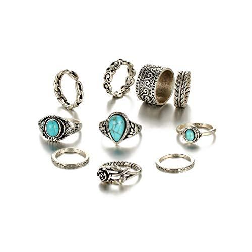 L_shop Blume Türkis Ring Vintage Mode Knuckle Ring Geburtstagsgeschenk Stein Ring durchbrochener Ring böhmischen Stil Vintage Fingerring, Legierung, Antike Silber