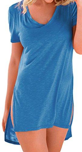 erdbeerloft - Damen Oversize Strand Mini Shirtkleid, XS-2XL, Viele Farben Blau