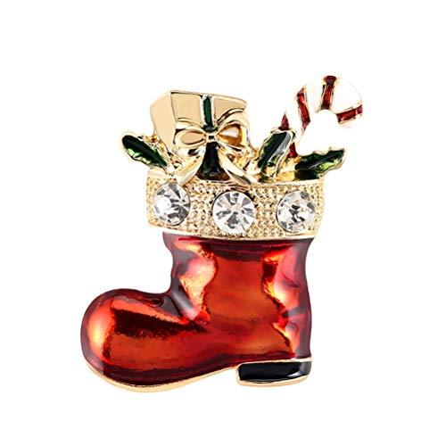 1Buy Mode Heißer Verkauf Brosche Rot Weihnachten Schuhe Antike Weihnachtsstrumpf Boot Pin Zubehör Brosche Weihnachtsgeschenk Ton Schöne Zubehör