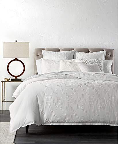 Hotel Akzent (Hotel Collection Bettbezug, Baumwolle, volle Queensize-Größe, Weiß mit geometrischen Akzenten)