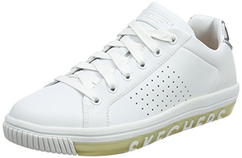 Skechers Damen Street Sweet-Step On It Sneaker, Weiß (White Leather/Sivler Durapatent Leather Trim), 36 EU (Schuhe Frauen Für Tennis Skecher)