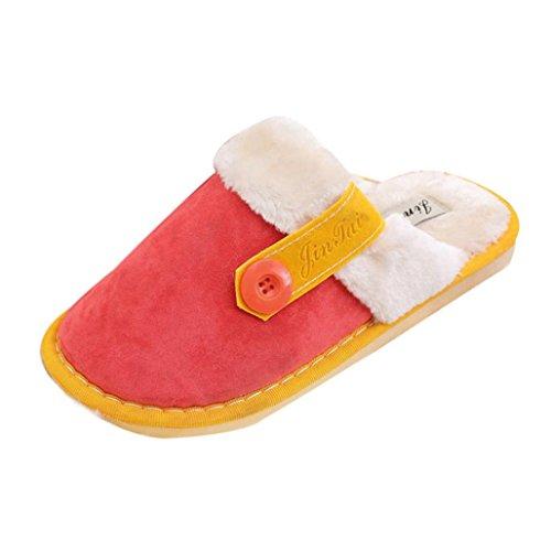FEITONG Herren Damen Weich Warm Indoor Cotton Hausschuhe Home Rutschfeste Schuhe Rot(Damen)