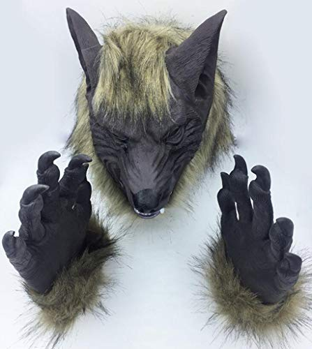 XHCP Halloween Masquerade Animal Styling Lion Tiger Wolf Handschuhe Wolf Head Maske ()