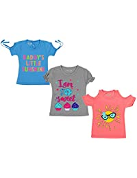 Kuchipoo Girls' Cotton T-Shirt- Pack of 3